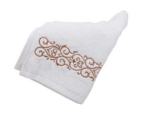 Gentle Meow Set of 2 Golden Embroidery Cotton Bath Towels Spa/Hotel/Sports Towel Washcloth