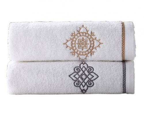 Gentle Meow Set of 2 [Bruce&Maria] Embroidery Cotton Bath Towels Spa/Hotel/Sports Towel Set