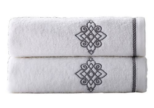 Gentle Meow Set of 2 [Bruce] Embroidery Cotton Bath Towels Spa/Hotel/Sports Towel Washcloth