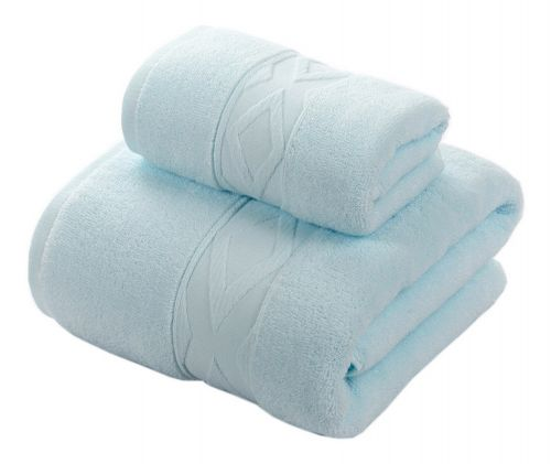 Gentle Meow Geometric Pattern Bath Towels Set Washcloth,1 Bath and 1 Hand/Face Towel,Blue