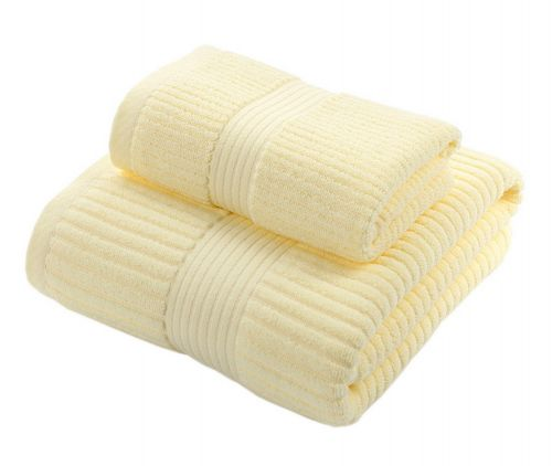 Gentle Meow Elegant Bath Washcloth Spa/Hotel/Sports Towel,1 Bath and 1 Hand/Face Yellow