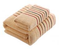 Gentle Meow Cotton Bath Towels Washcloth Spa/Hotel/Sports 1 Bath and 1 Hand/Face Towel,Khaki