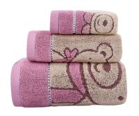 Gentle Meow 3 Pcs Cute Bear Bath Towels Set Cotton Family Towels Washcloth Face Towel Pink