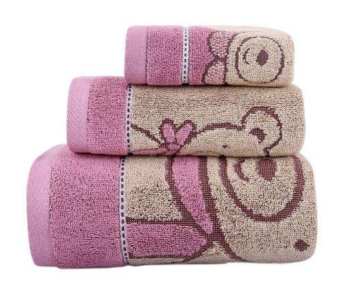 Gentle Meow 3 Pcs Cute Bear Bath Towels Set Cotton Family Towels Washcloth Face Towel Pink