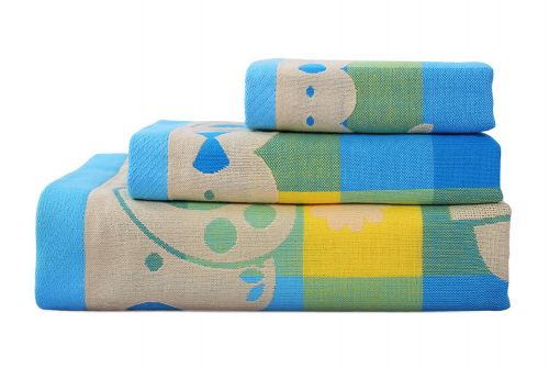 Gentle Meow 3 Pcs Lovely Rabbit Bath Towels Cotton Family Towels Washcloth Face Towel Blue