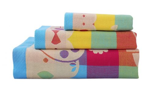 Gentle Meow 3 Pcs Lovely Rabbit Bath Towels Cotton Family Towels Washcloth Face Towel Red