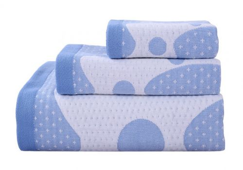 Gentle Meow 3 Pcs Giraffe Bath Towels Cotton Family Towels Washcloth Children Towel Blue