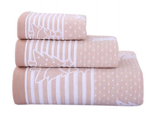 Gentle Meow 3 Pcs Christmas Tree Towels Cotton Family Towels Washcloth Hand/Face Towel Khaki