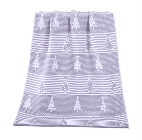 Gentle Meow Christmas Tree Towels Cotton Family Towels Washcloth Bath Towel Gray Gift Idea