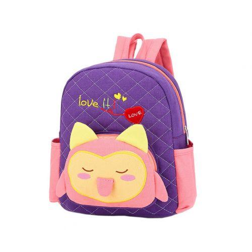 Cute Purple Fox School Bag Toddler Backpack Kids Travel Canvas Backpacks Purse