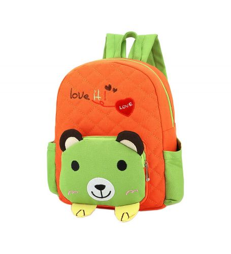 Cute Orange Bear School Bag Toddler Backpack Kids Travel Canvas Backpacks Purse