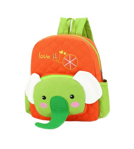 Cute Orange Elephant School Bag Toddler Backpack Kids Travel Canvas Backpacks