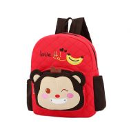 Cute Red Monkey School Bag Toddler Backpack Kids Travel Canvas Backpacks Purse