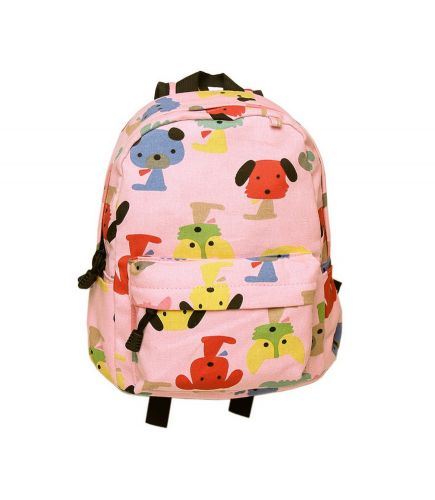 Cute Pink Puppy School Bag Children's Backpack Travel Canvas Backpacks Purse Dog