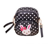 Cute Black Polka Dots Rabbit School Bag Travel Shoulder Bag Kids Backpack Purses