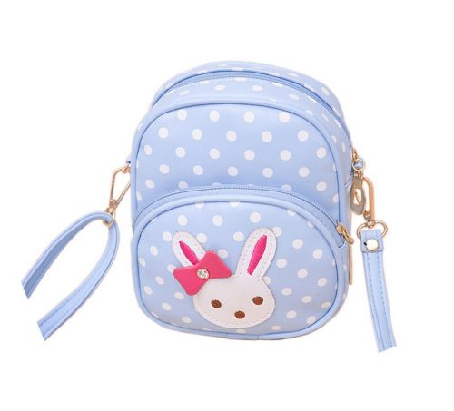 Cute Blue Polka Dots Rabbit School Bag Travel Shoulder Bag Kids Backpack Purses