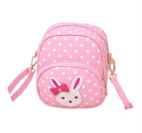 Cute Pink Polka Dots Rabbit School Bag Travel Shoulder Bag Kids Backpack Purses