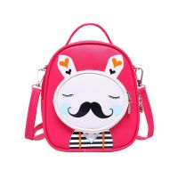 Kids Moustache Rabbit School Bag Cute Travel Shoulder Bag Backpack Purses Red
