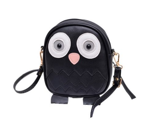 Cute Owl Children Travel Shoulder Bag Kids Backpack Purses School Bag Black