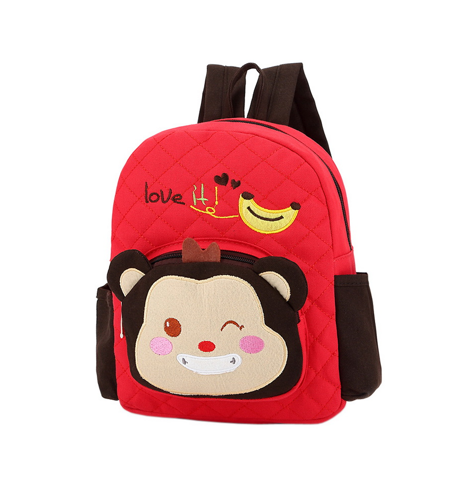 8b176a351 Cute Red Monkey School Bag Toddler Backpack Kids Travel Canvas ...